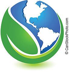 világ, tervezés, zöld, jel