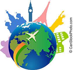 világ, utazó, mindenfelé