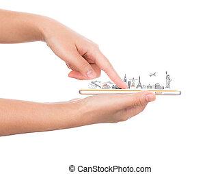 világ utazik, egyiptom, női, india, kína, smartphone, york, mozgatható, (japan, telefon, london, olaszország, arany, mindenfelé, hatalom kezezés, franciaország, brazil)