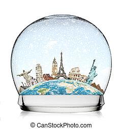 világ utazik, fogalom, hógolyó, emlékmű