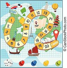világ utazik, sablon, boardgame