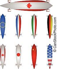 világ, vektor, zászlók, ábra, longboards