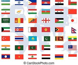 világ, vektor, zászlók, háttér, művészet, elvont, fehér, ázsia, ellen, ábra
