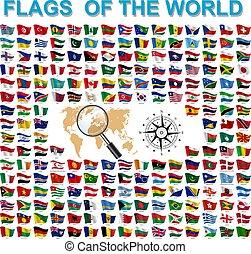 világ, zászlók, országok, független, állhatatos, címek, cégtábla, egyesült államok