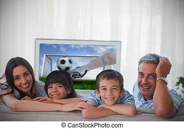 világbajnokság, kiállítás, televízió, mosolygós, fényképezőgép, család