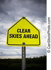 világos ég, előre, út cégtábla