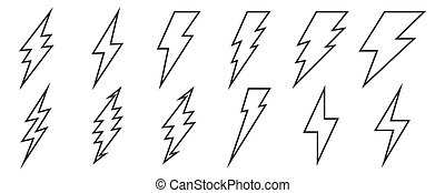 villámlás, állhatatos, vektor, icons., lightnings., áttekintés