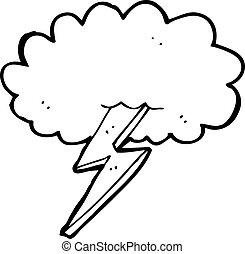 villámlás elzár, felhő, karikatúra