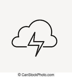 villámlás, felhő, ikon