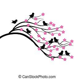 villásreggeli, fa, madarak