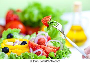 villa, egészséges, növényi, saláta, friss