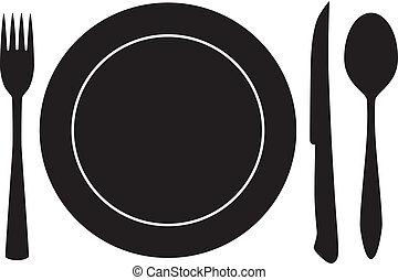 villa, kanál, vektor, tányérnyi, kés