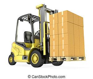 villa, nagy, sárga, dobozok, lift, csereüzlet, kartondoboz, kazal