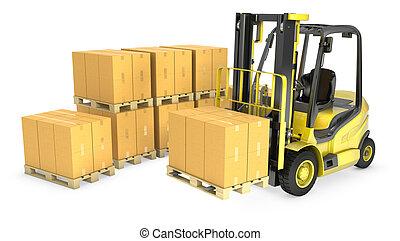 villa, sárga, dobozok, lift, csereüzlet, kartondoboz, kazal