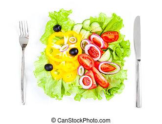 villa, saláta, egészséges táplálék, növényi, friss, kés