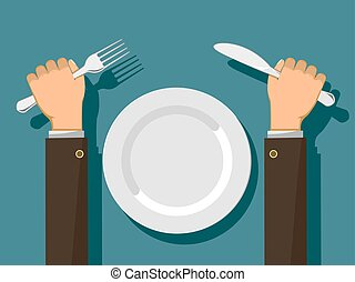 villa, tányér., üres, kézbesít, fehér, kés