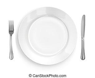 villa, tányér, &, beállítás, állás, kés