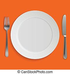 villa, tányér, gyakorlatias, vacsora kés, üres