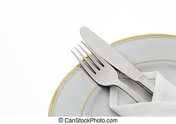 villa, tányér, kés