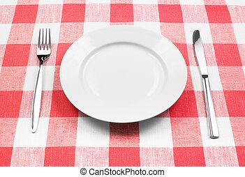 villa, tányér, kockás, fehér, kés, abrosz, piros