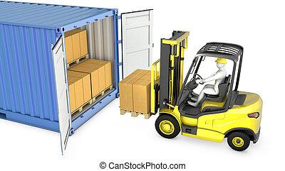villa, teherárú tároló, sárga, lift, csereüzlet, unloads
