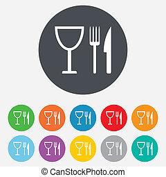 villa, wineglass., aláír, icon., kés, eszik