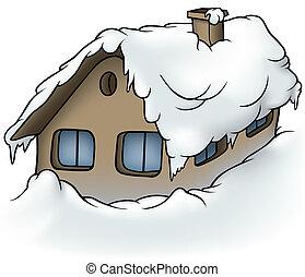 villaház, havas
