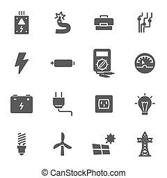 villanyáram, állhatatos, fekete, vektor, ikonok