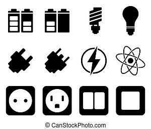 villanyáram, energia, állhatatos, ikon