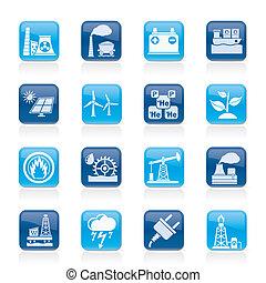 villanyáram, forrás, energia, ikonok