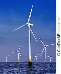 villanyáram, kivált, turbines, felteker