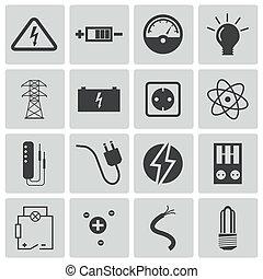 villanyáram, vektor, fekete, állhatatos, ikonok