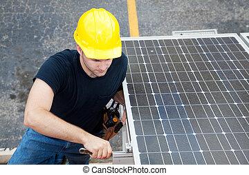 villanyszerelő, dolgozó, nap-, -, energia