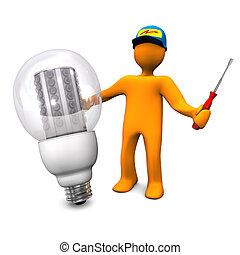 villanyszerelő, irányított, gumó