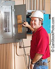 villanyszerelő, munka, ipari