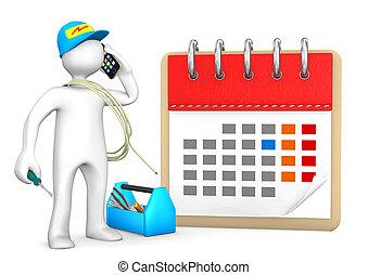 villanyszerelő, naptár, telefon