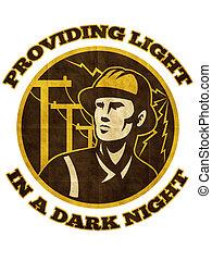 villanyszerelő, repairman, erő, pályaőr, lengyel