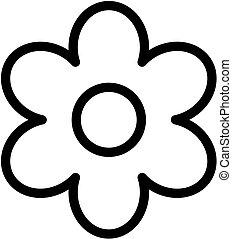 virág, áttekintés, egyszerű, vektor, icon., virág, illustration.