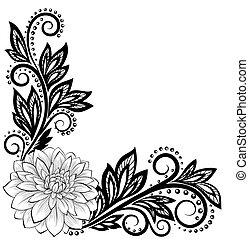 virág, befűz, hely, szöveg, corner., köszöntések, monochrom, fekete, fehér, -e