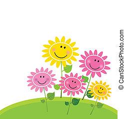 virág, boldog, eredet, kert