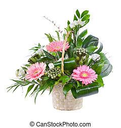 virág bouquet, felett, elszigetelt, fényes, háttér, kosár, fehér