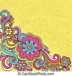 virág, doodles, psychedelic, jegyzetfüzet