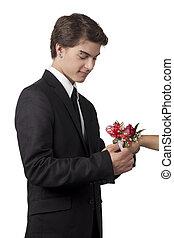 virág, elhelyezés, karkötő, kéz, pasas, jelentékeny