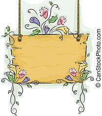 virág, fából való, függő, cégtábla, szőlőtőke, tiszta