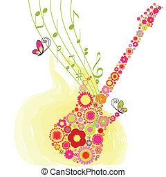 virág, fesztivál, tavasz, gitár, zene, háttér