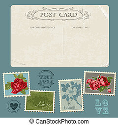 virág, gratuláció, levelezőlap, szüret, -, meghívás, topog, vektor