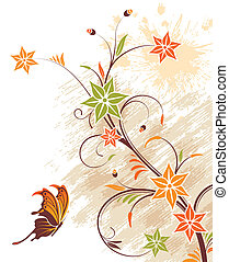 virág, grunge, háttér