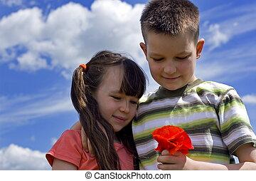 virág, gyerekek