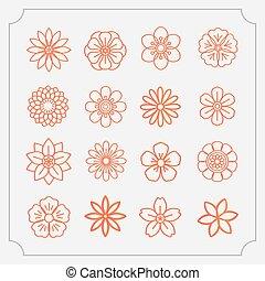 virág, ikon, sovány megtölt, állhatatos, mód