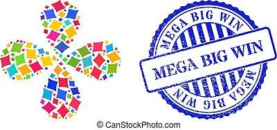 virág, illeszt, centrifugális, nagy, győz, mega, kártya, többszínű, 4, grunge, szirom, bélyeg, játék, gyémánt